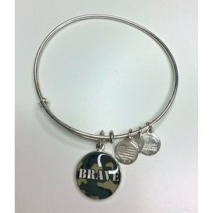 Alex And Ani Army Brave Camo Silver Charm Bracelet